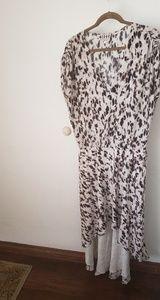 Haute Hippie Animal Print Silk High/Low Dress Lge